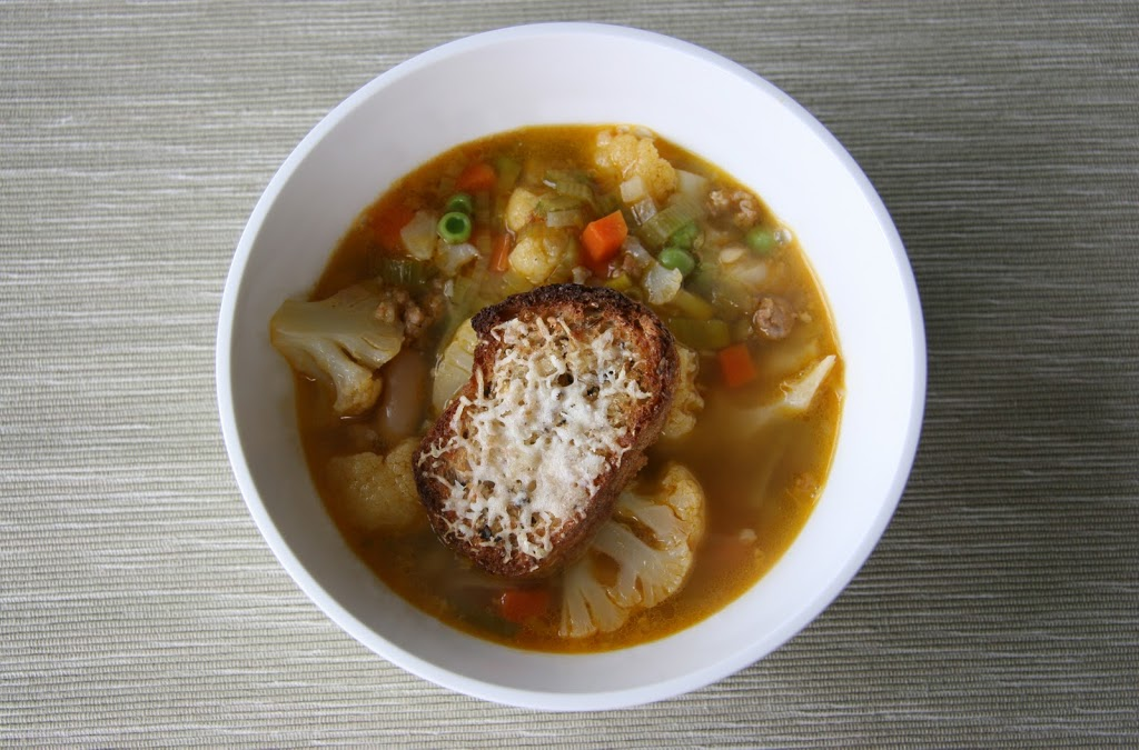 Hearty Vegetable and Chorizo Soup with Parmigiano Croutons