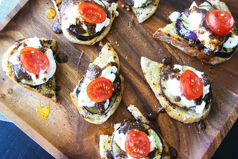 Burrata and Eggplant Crostini