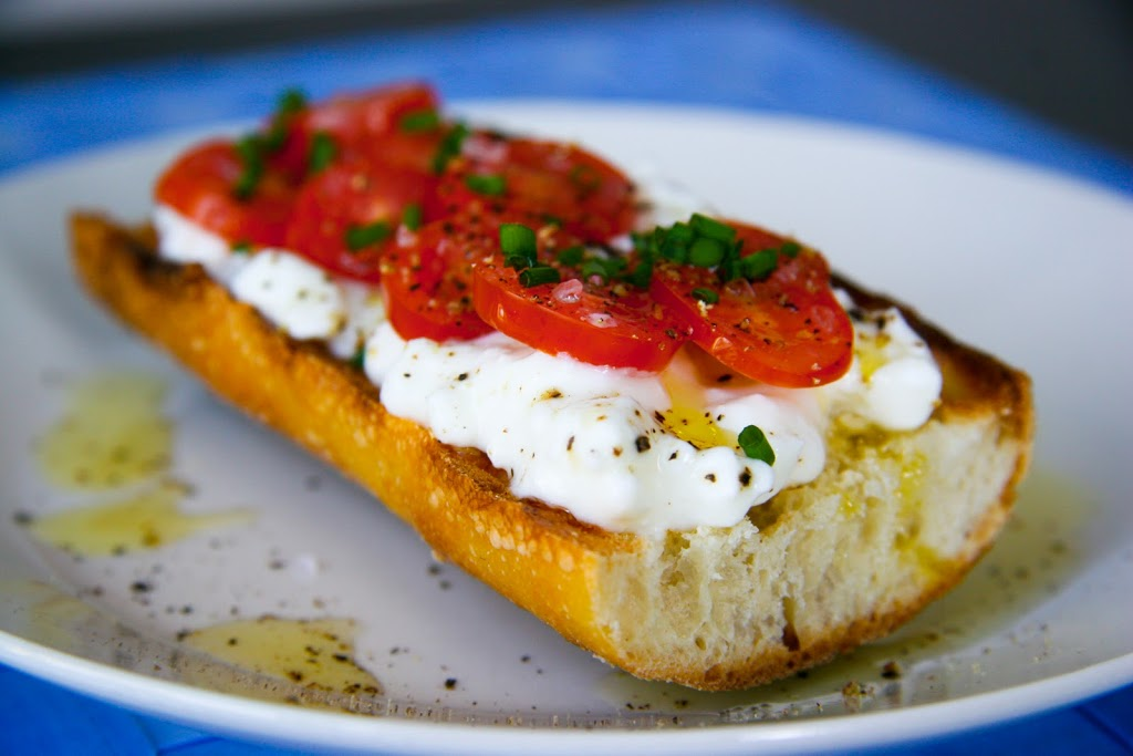 Cottage Cheese and Tomato on Baguette Breakfast