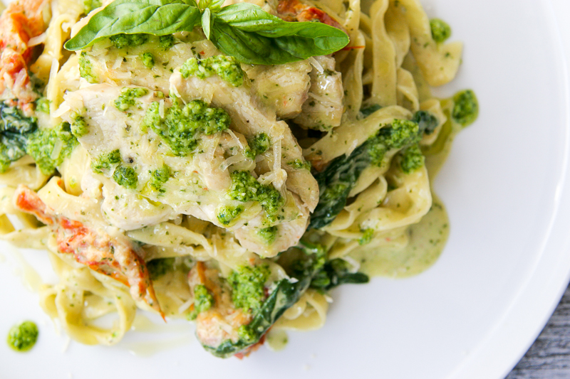 Creamy Pesto Chicken Linguine | I Will Not Eat Oysters