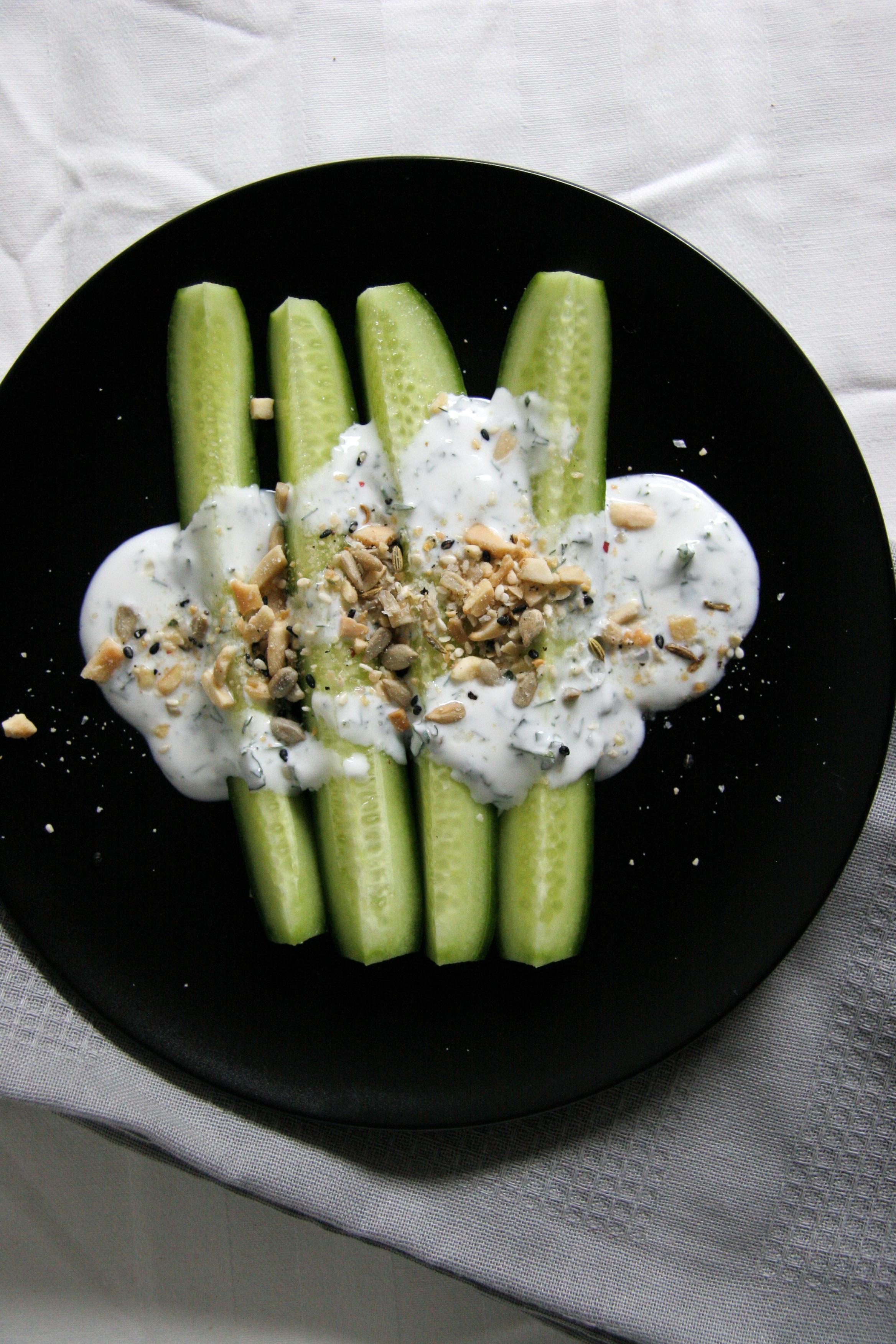 Healthy Cucumber Dukkah Snack with herbed yogurt.