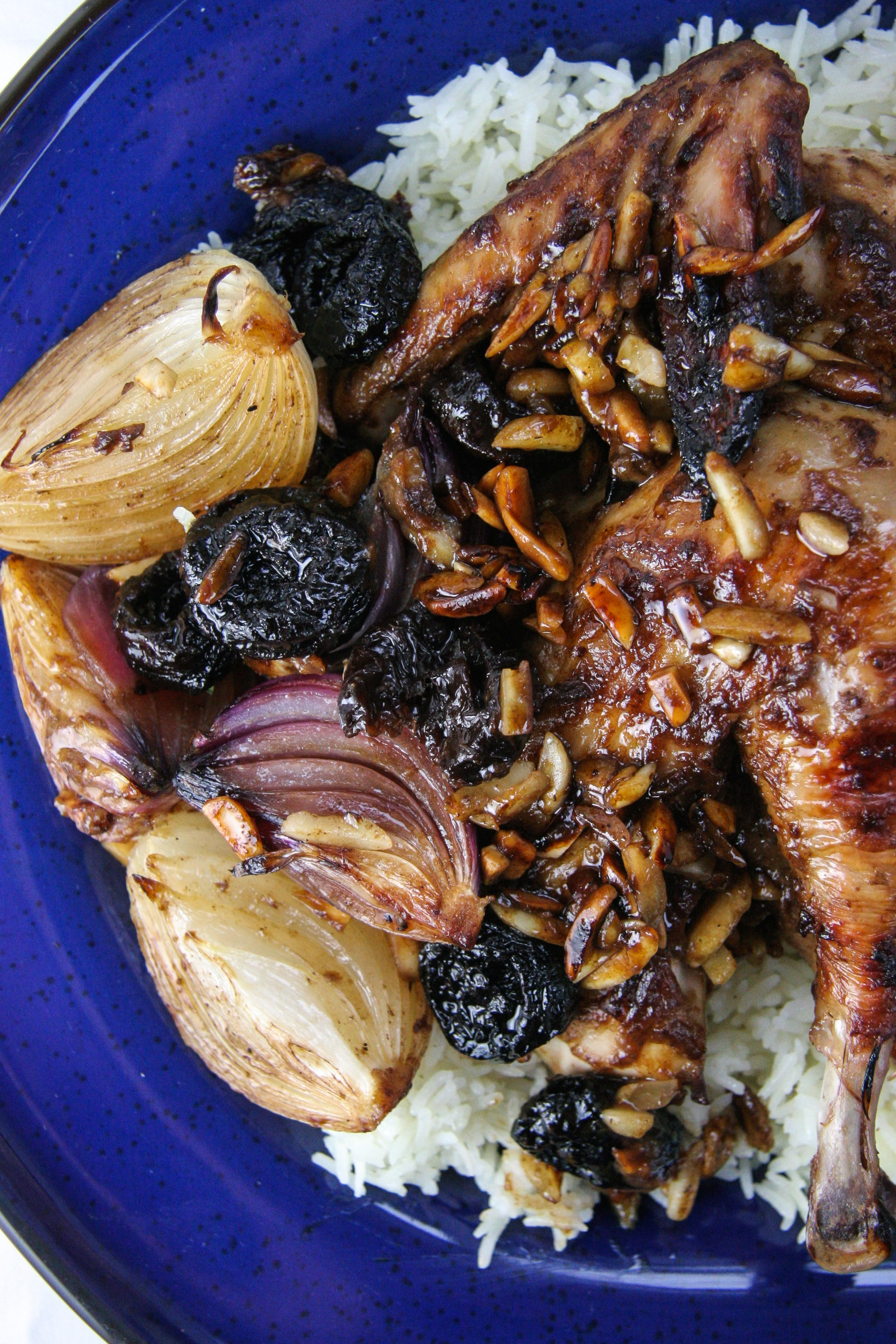 Prune & Almond Roast Chicken with Onions over Basmati Rice | I Will Not Eat Oysters