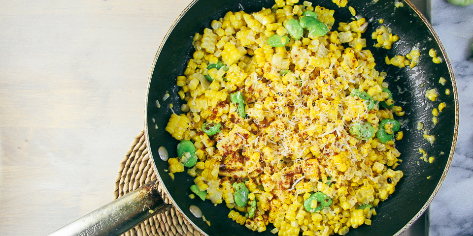 Sautéed Corn & Fava Beans with Parmesan | I Will Not Eat Oysters