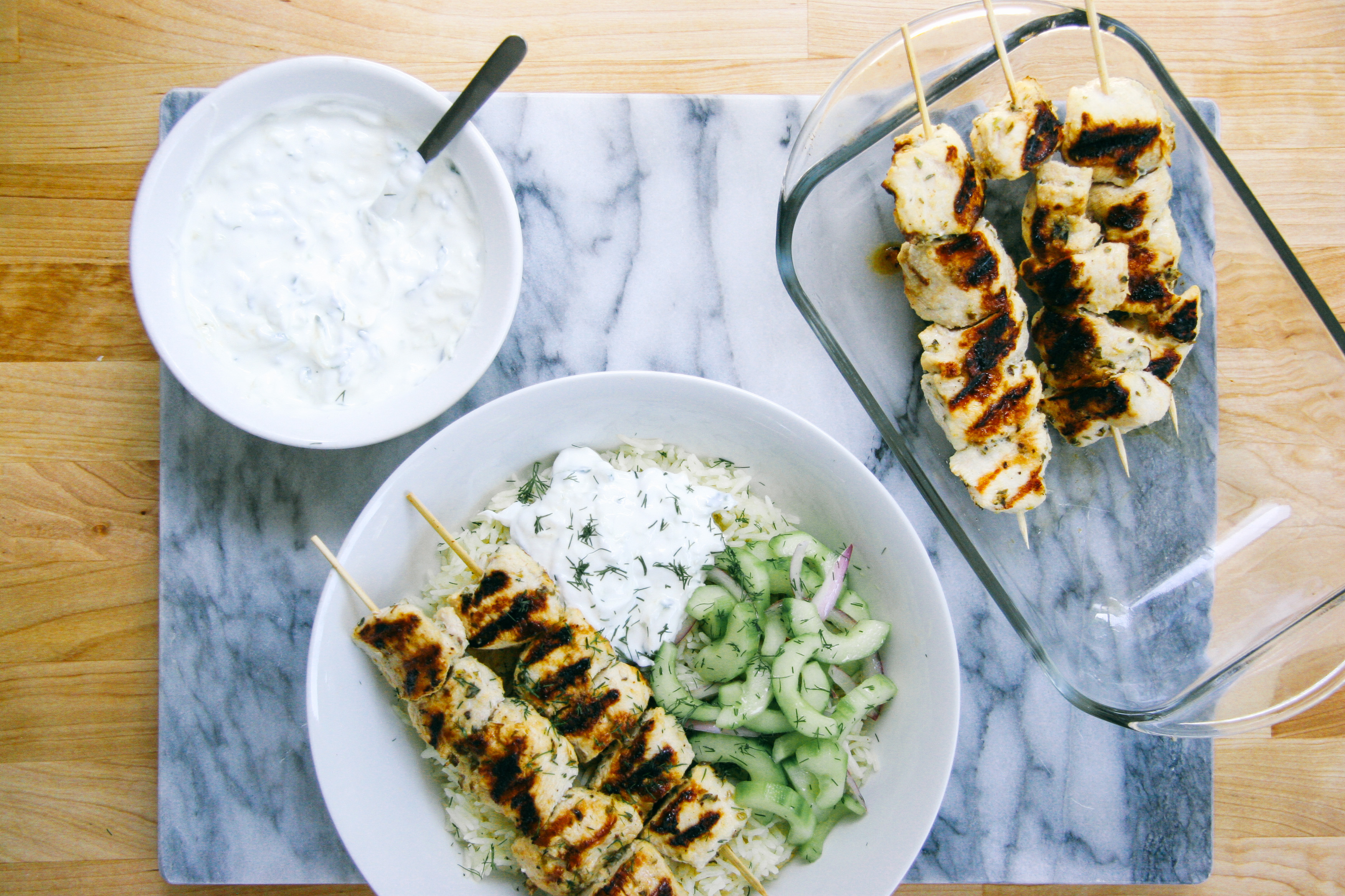 Grilled Chicken Kebab Bowls with Cucumber salad and Tzatziki | I Will Not Eat Oysters