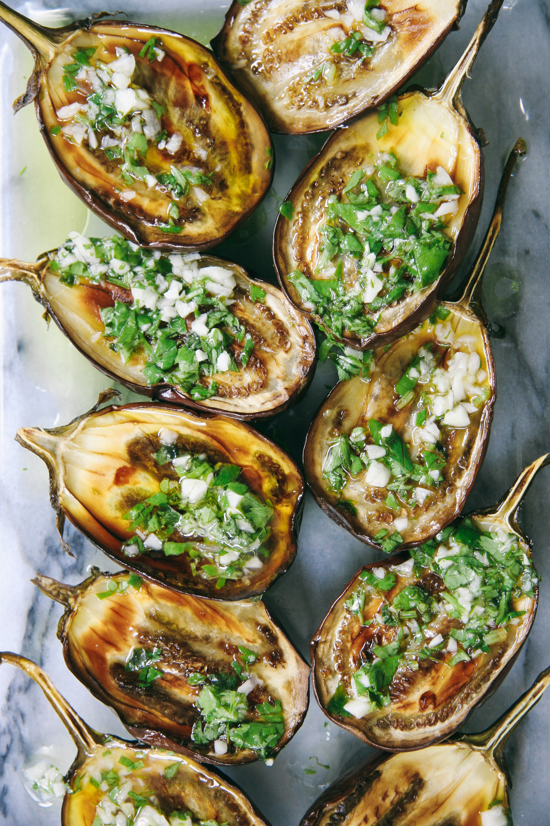 Lemon Garlic Roasted Eggplants over Labane | Mezes | I Will Not Eat Oysters