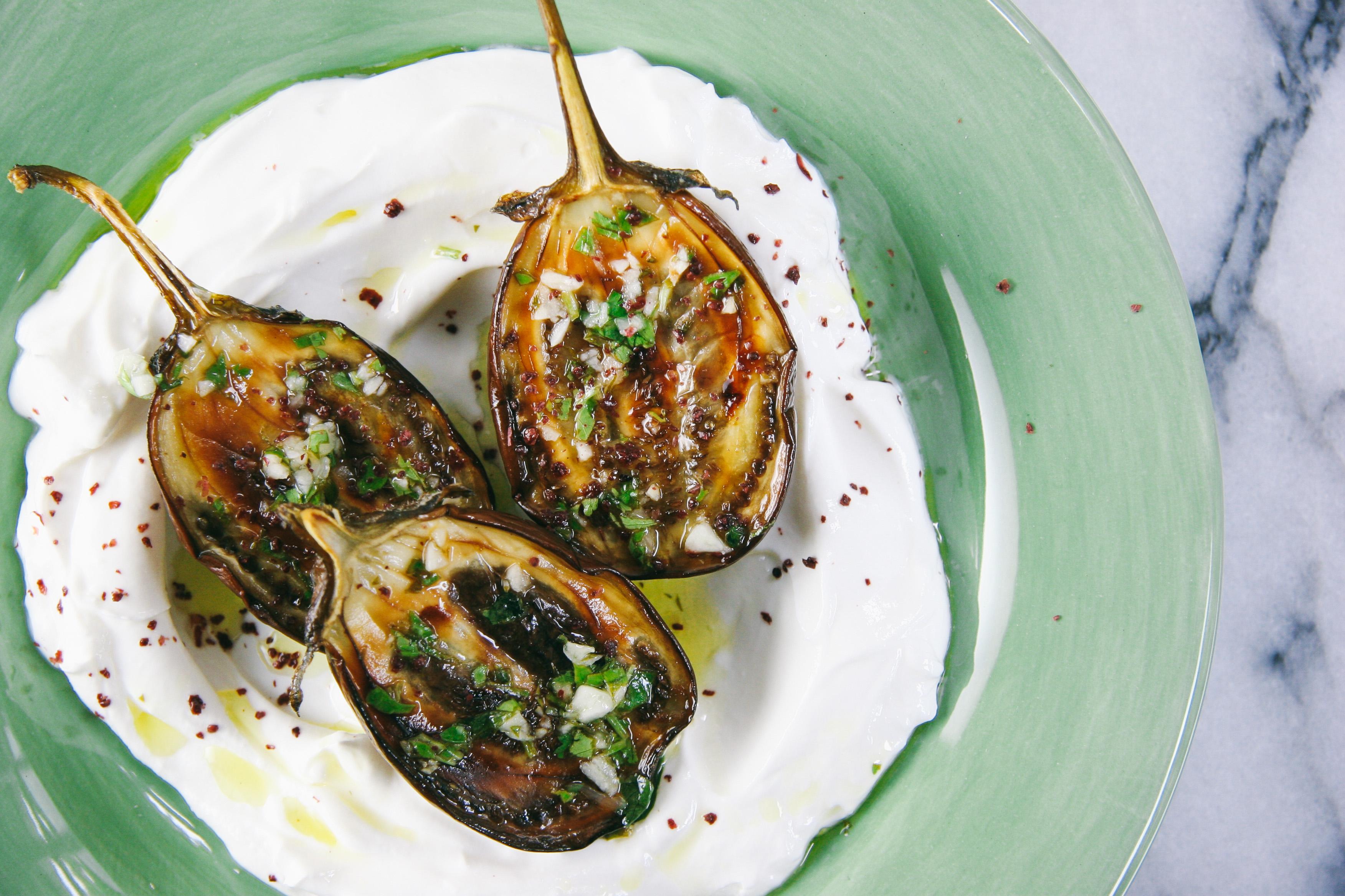 Lemon Garlic Roasted Eggplants over Labane   Mezes   I Will Not Eat Oysters