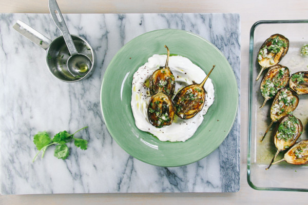 Lemon Garlic Roasted Eggplants over Labane | Mezes | I Will Not Eat Oysters