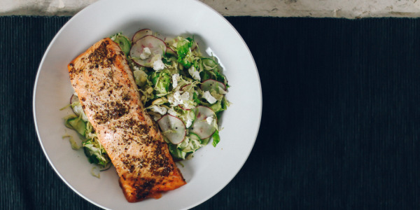 Mustard Salmon Chop Chop Salad with Goat Cheese & Almonds | I Will Not Eat Oysters