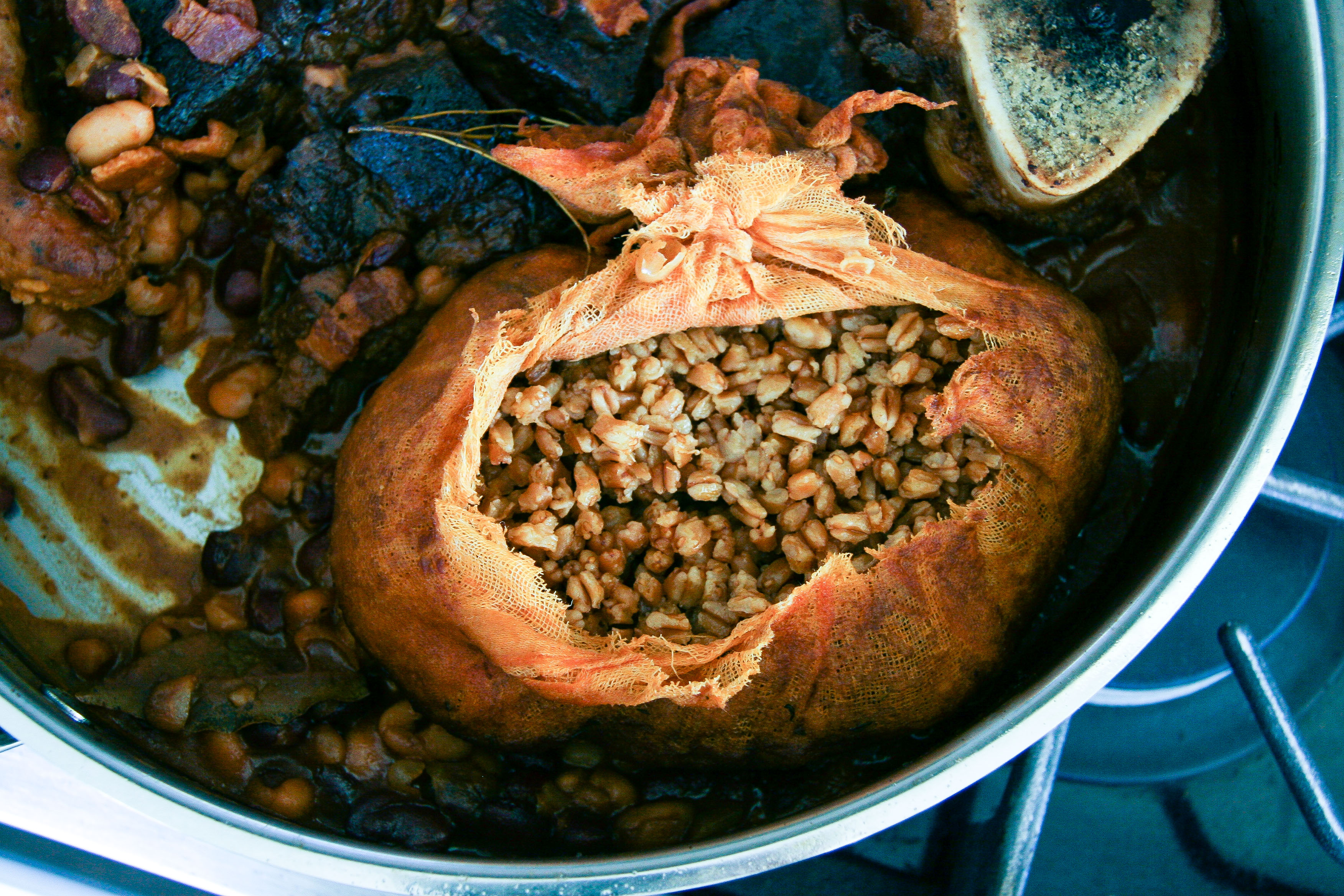 Cholent Cassoulet with Sausages, Beef, Beans, & Farro | I Will Not Eat Oysters