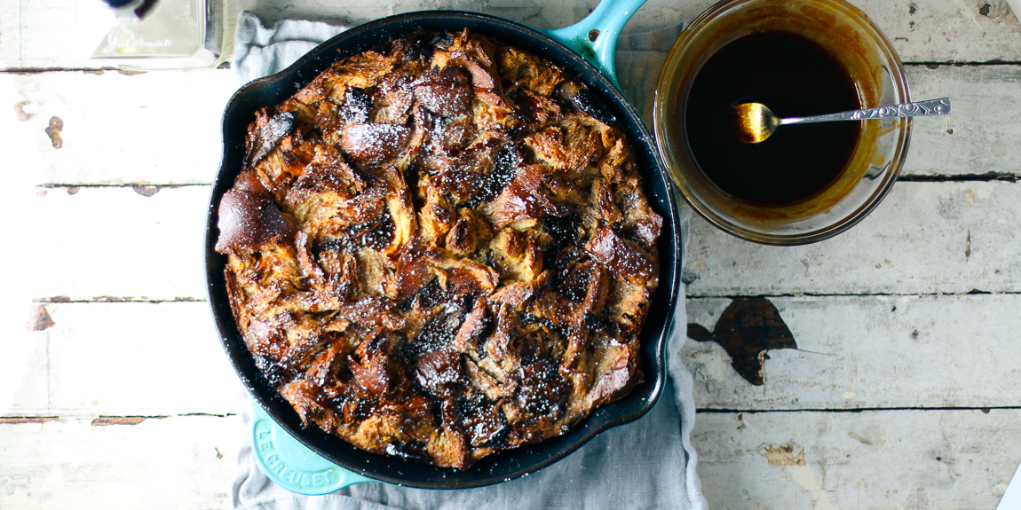 Whiskey Caramel Date Bread Pudding