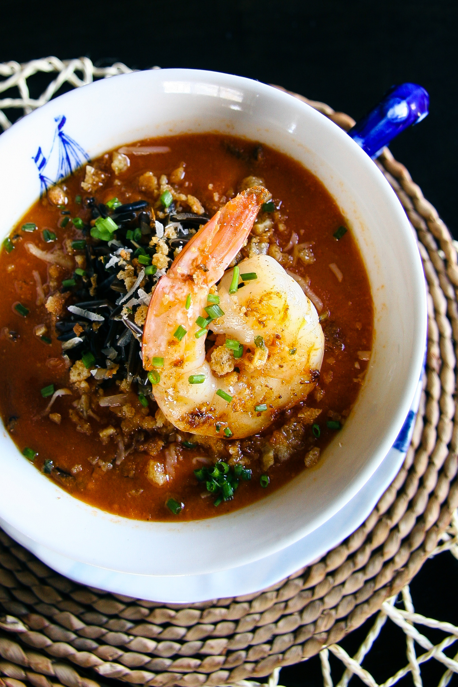 Roasted Tomato & Wild Rice Soup with Garlic Shrimp and Buttery Bread Crumbs | I Will Not Eat Oysters