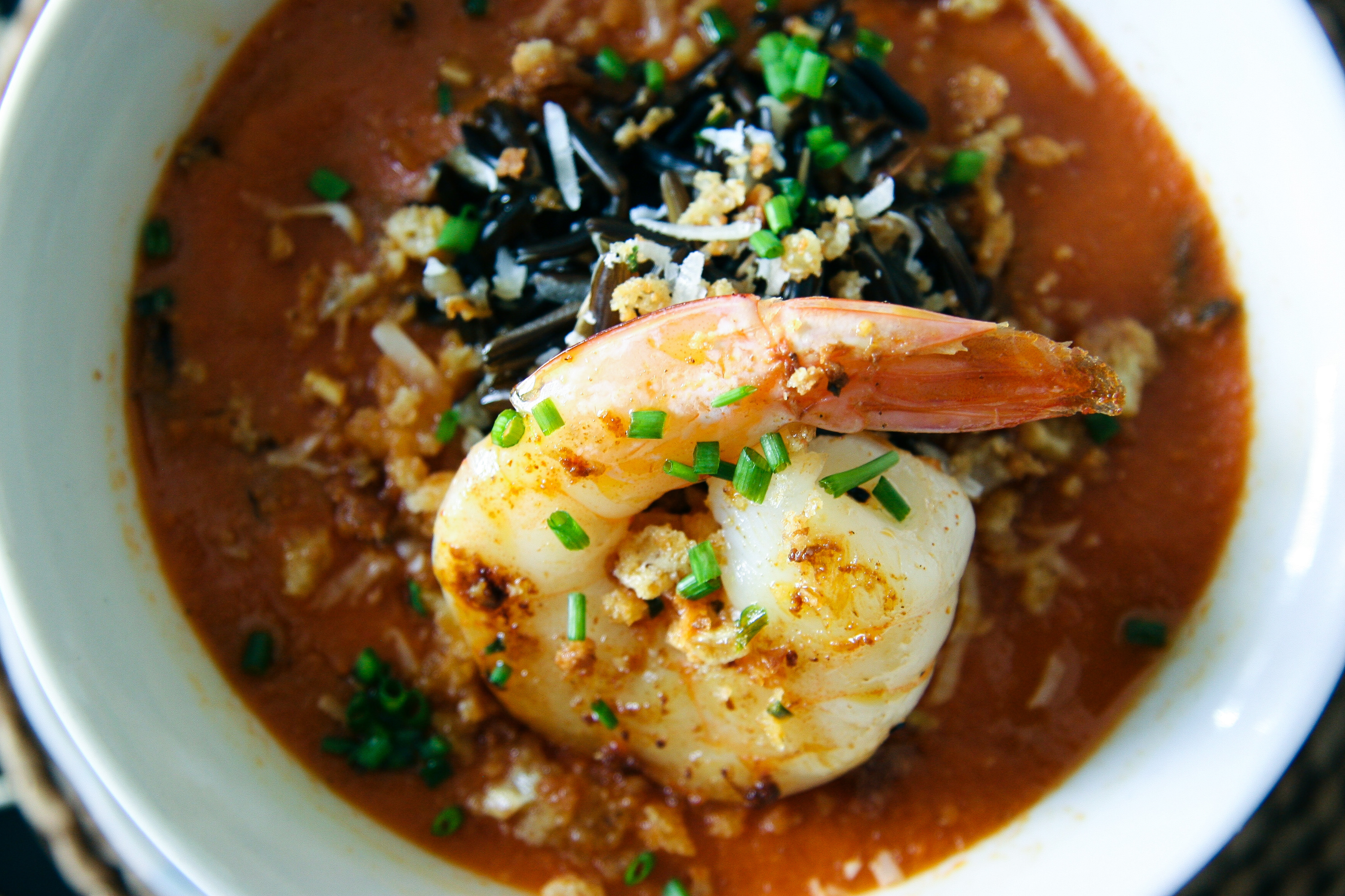 Roasted Tomato & Wild Rice Soup with Garlic Shrimp and Buttery Bread ...