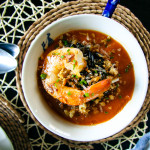 Roasted Tomato & Wild Rice Soup with Garlic Shrimp and Buttery Bread Crumbs   I Will Not Eat Oysters