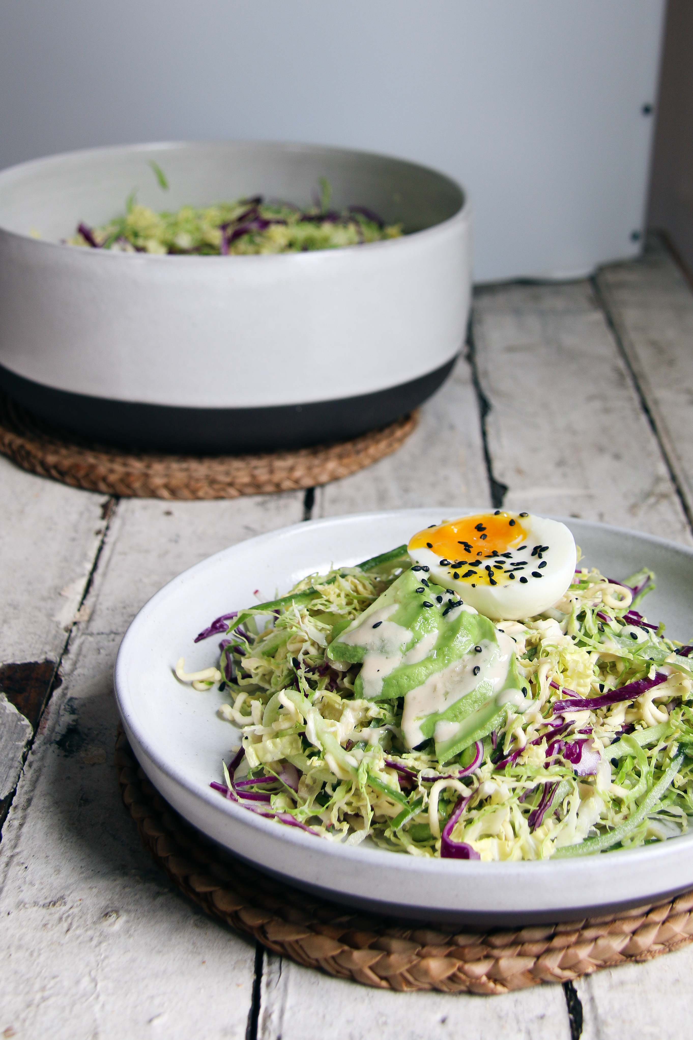 The Crunchiest Ramen Salad with tahini dressing and soft boiled egg   I Will Not Eat Oysters