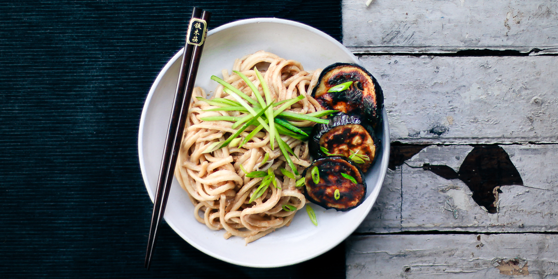 Tahini Udon with Charred Eggplant