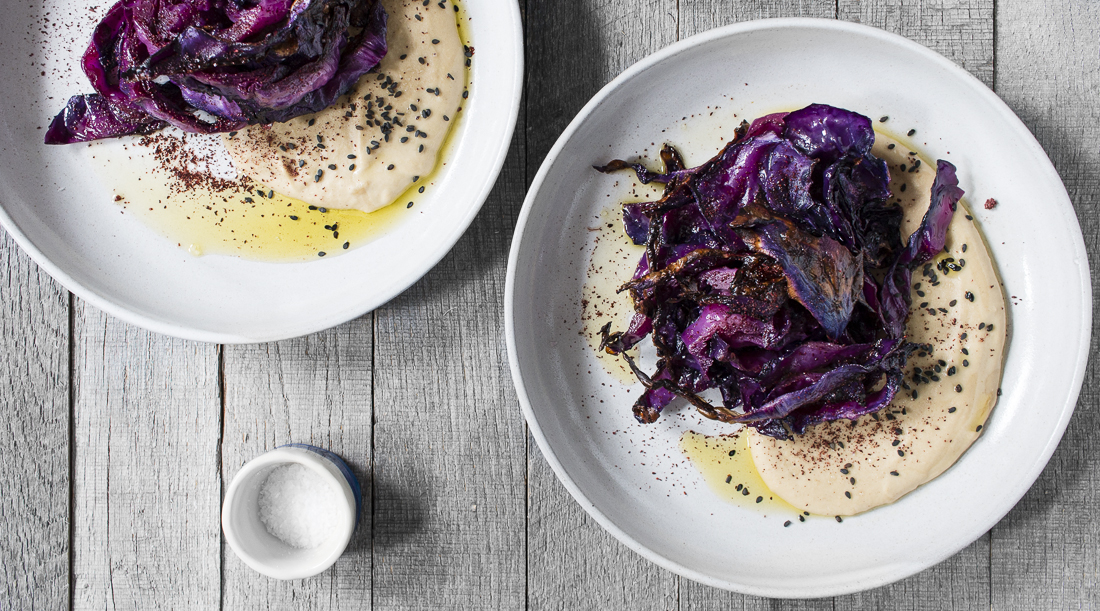 Hummus with Roasted Cabbage