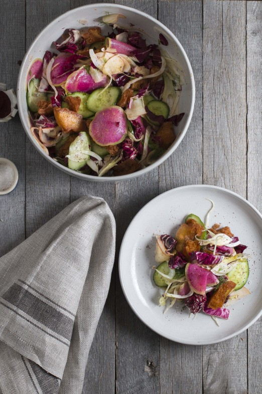 Fennel & Watermelon Radish Fattoush Salad | I Will Not Eat Oysters
