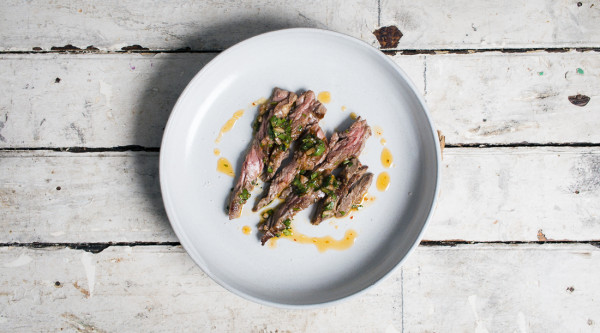 Harissa Chimichurri on Skirt Steak