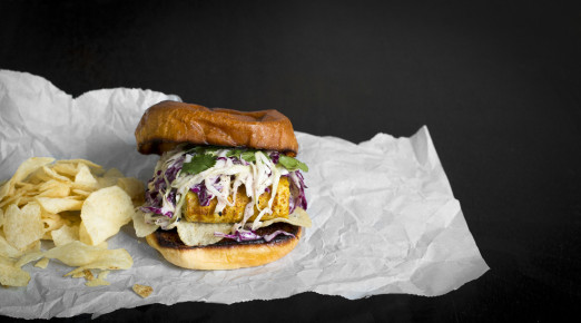 Hawaij Fish Sandwich with Tahini Slaw and Salt & Vinegar Chips on toasted Brioche Bun | I Will Not Eat Oysters