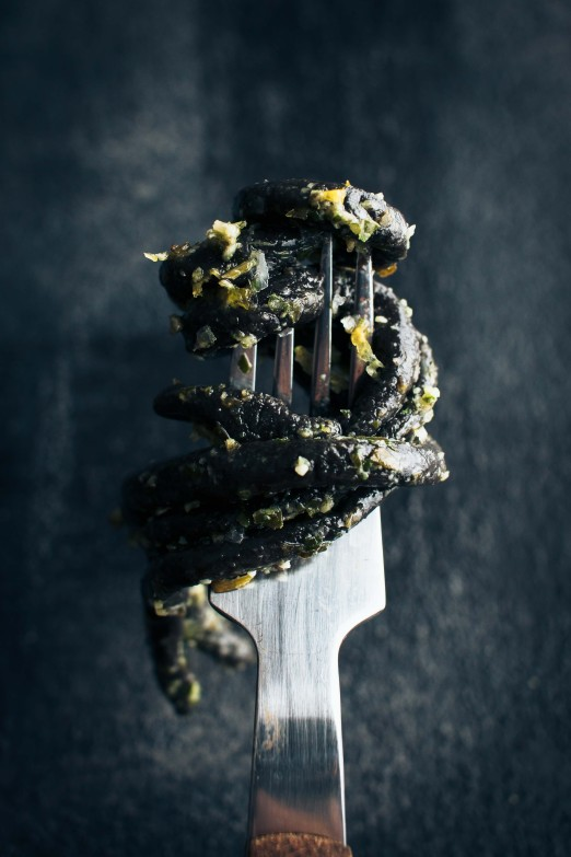 Sorrel Pesto with Homemade Squid Ink Pici | Recipe from I Will Not Eat Oysters