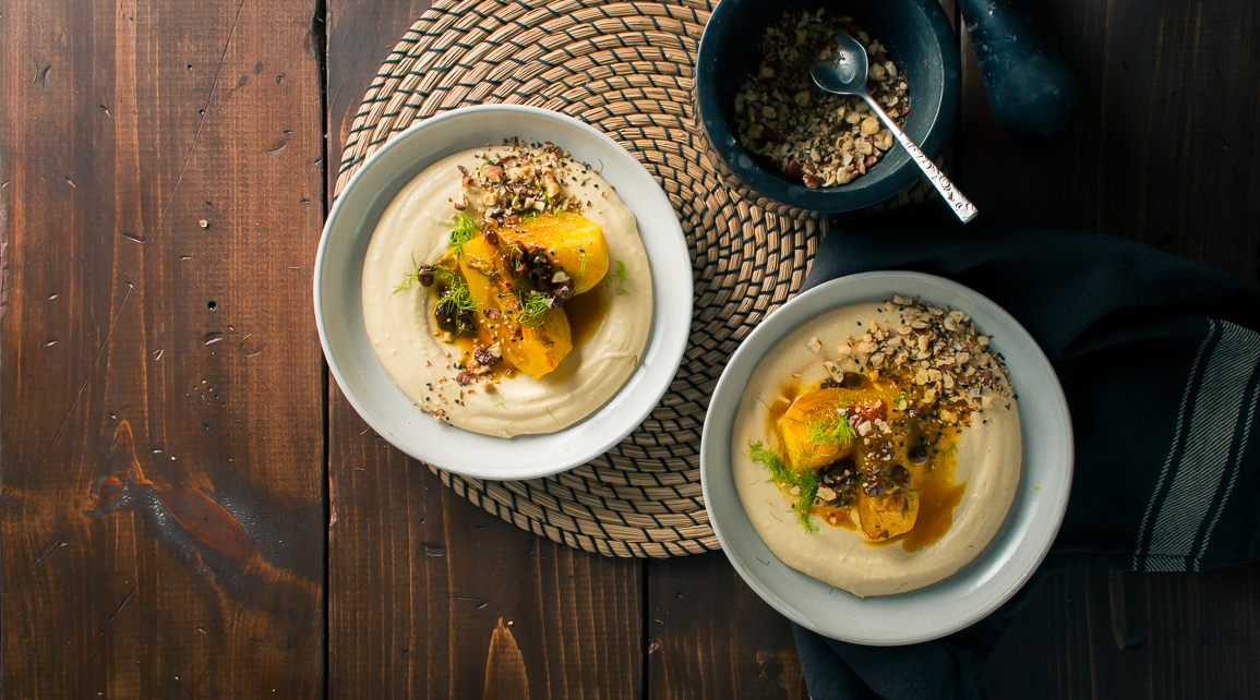 Braised Fennel & Hummus w/ Dukkah