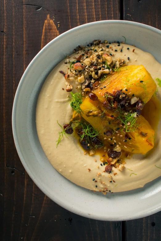 Braised Fennel with Saffron and Raisins over Hummus with Dukkah ...