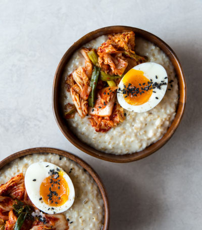 "Oatmeal with Cheddar & Kimchi from ""Food You Love But Different"""
