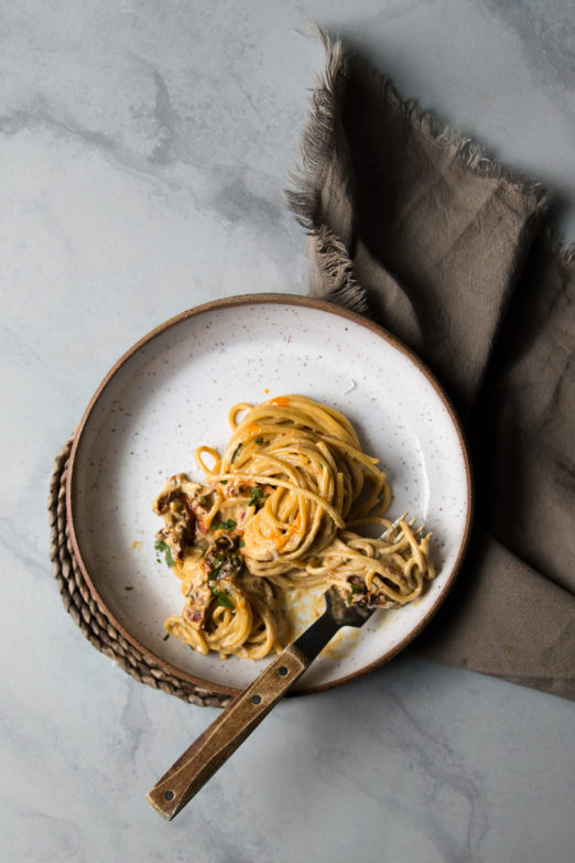 Spaghetti with Coconut Milk, Curry, and Sun-dried Tomatoes | Recipe from Danielle at I Will Not Eat Oysters