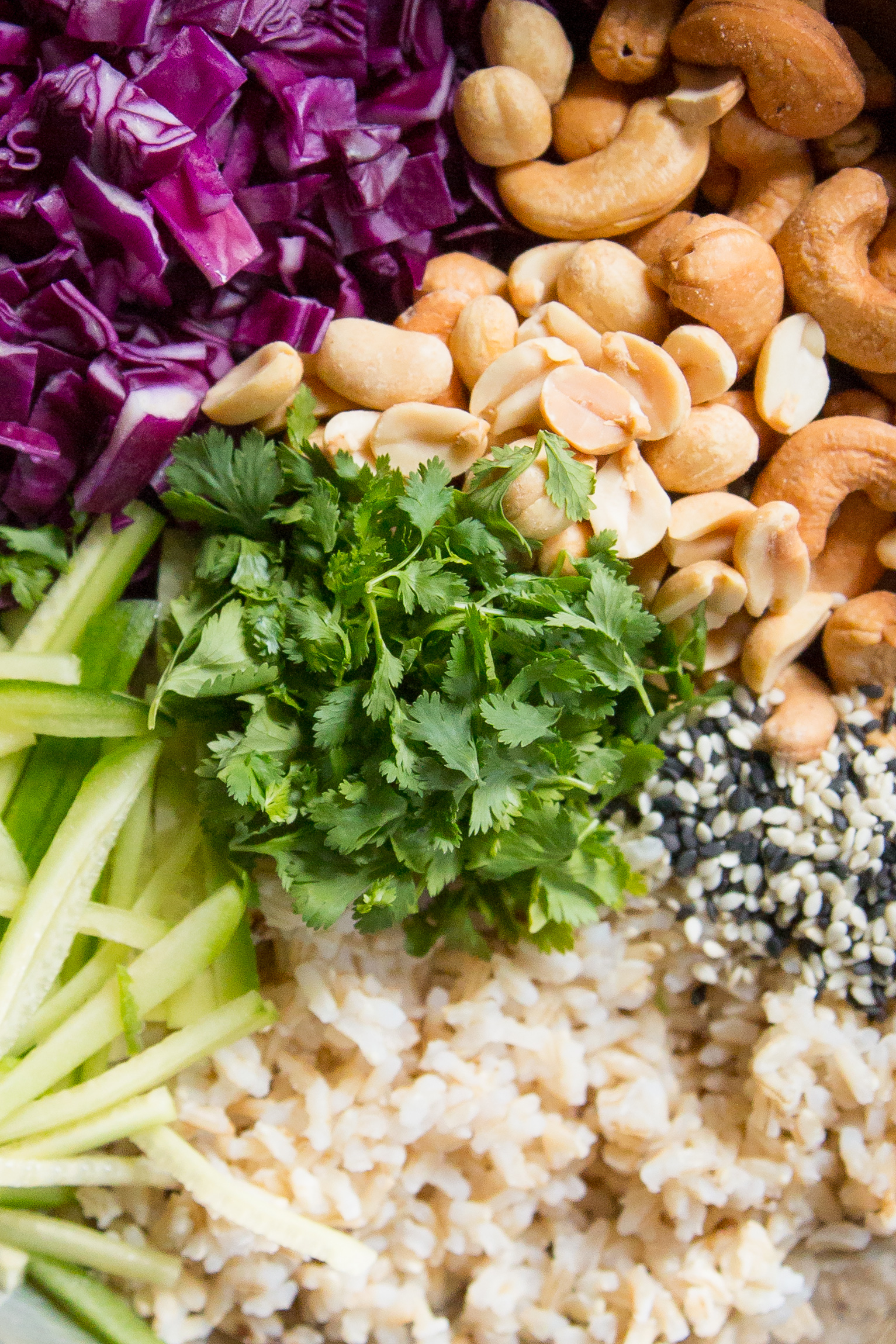 Brown Rice Salad with Tahini Soy Dressing